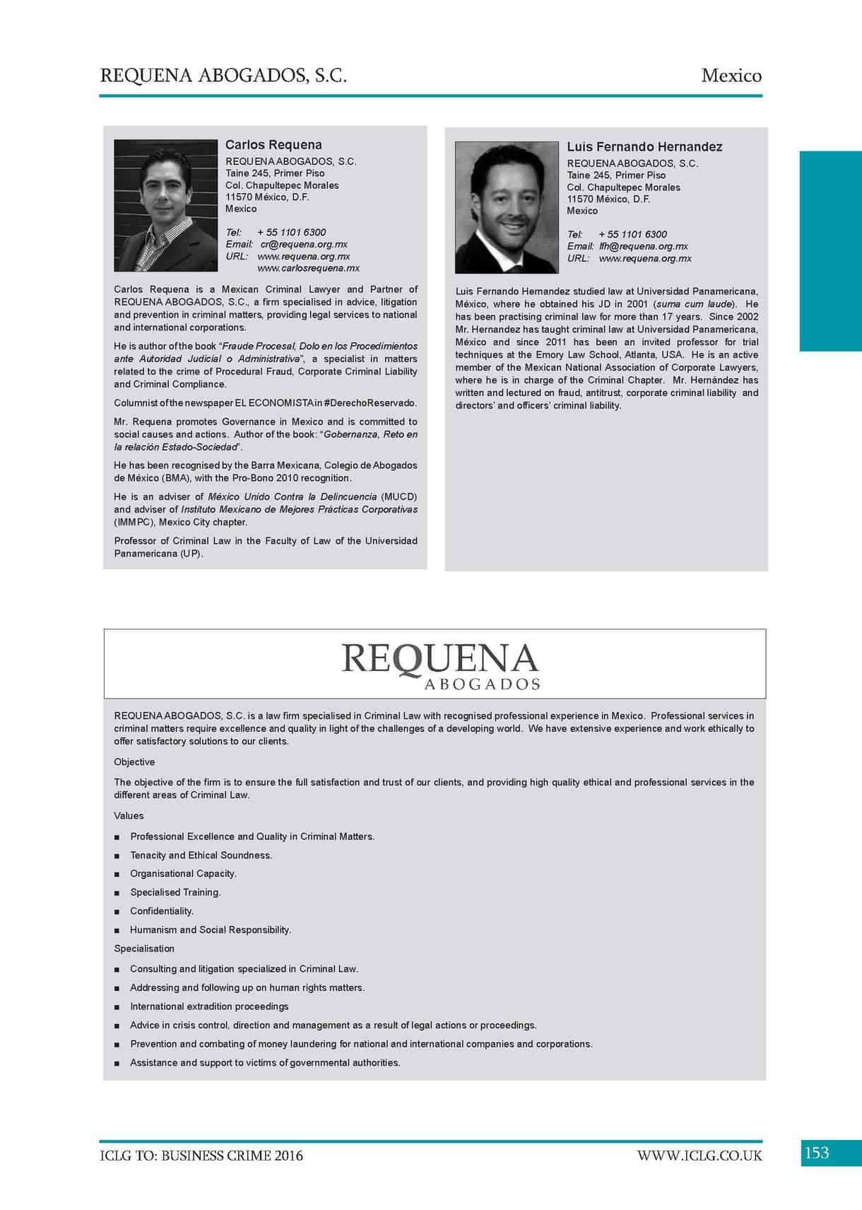 Carlos Requena | Abogado Penalista | 6th Edition Business Crime 2016