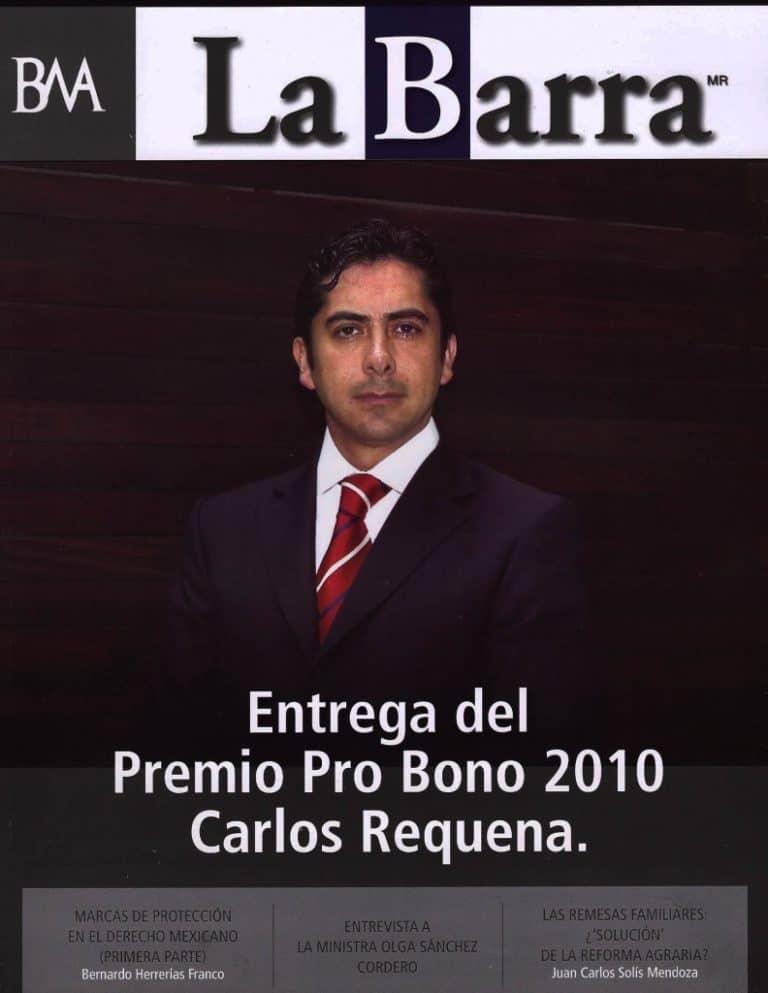 Carlos Requena | Abogado Penalista | Portada Revista La Barra - Premio Pro Bono 2010