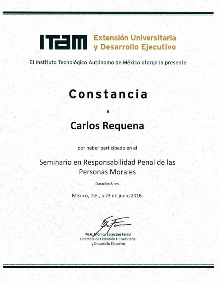 Carlos Requena | Abogado Penalista | Seminario ITAM 23 Junio