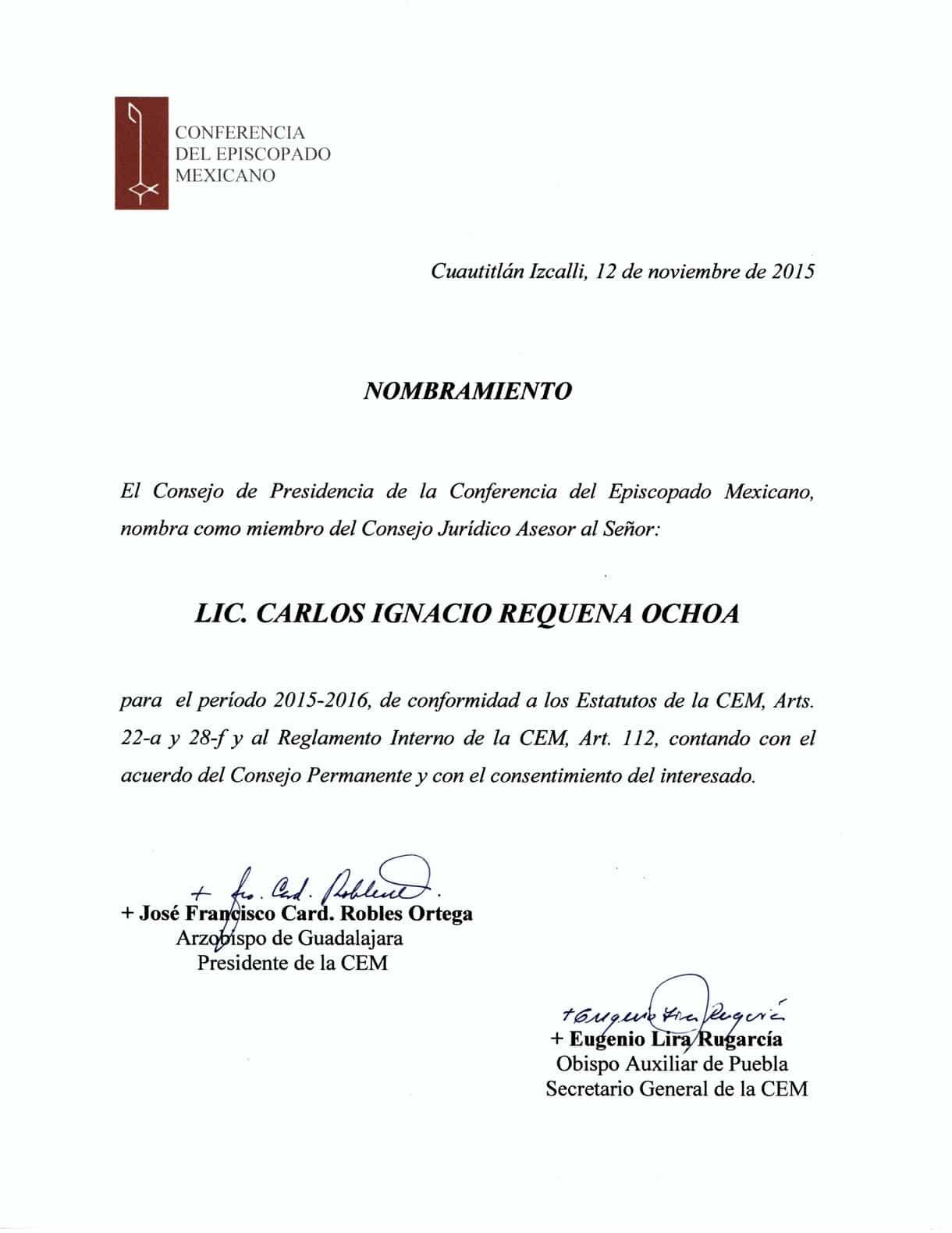 Carlos Requena | Abogado Penalista | Nombramiento Miembro de la Conferencia del Episcopado Mexicano 2016