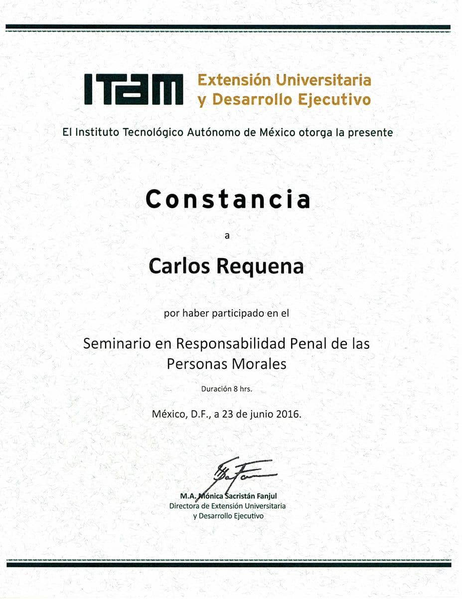 Carlos Requena | Abogado Penalista | Seminario ITAM 23Junio