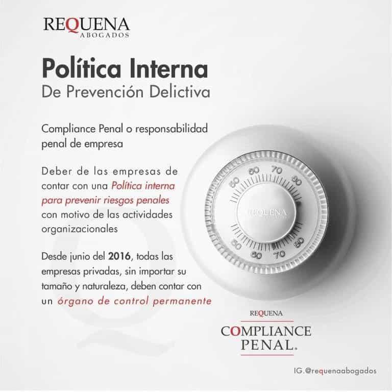 Política Interna de Prevención Delictiva | Compliance Penal | Carlos Requena #Responsabilidad Penal de Empresa #Compliance Penal de Empresa #Riesgos Penales