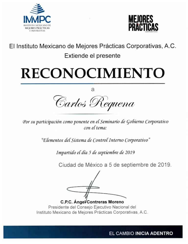 Reconocimiento IMMPC Septiembre 2019 | Abogado Carlos Requena