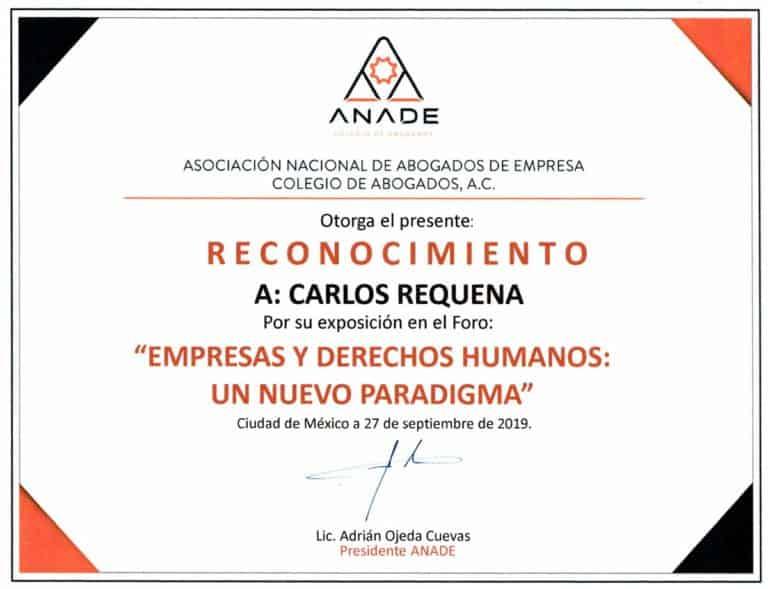 Reconocimiento ANADE 2019 | Empresas y Derechos Humanos | Abogado Carlos Requena