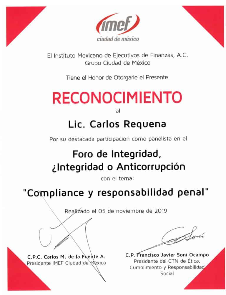 Reconocimiento IMEF 2019 | Foro de Integridad, ¿Integridad o Anticorrupción | Abogado Carlos Requena